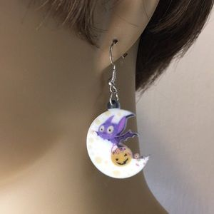 Jewelry - Crescent Moon and Flying Bat Acrylic Earrings